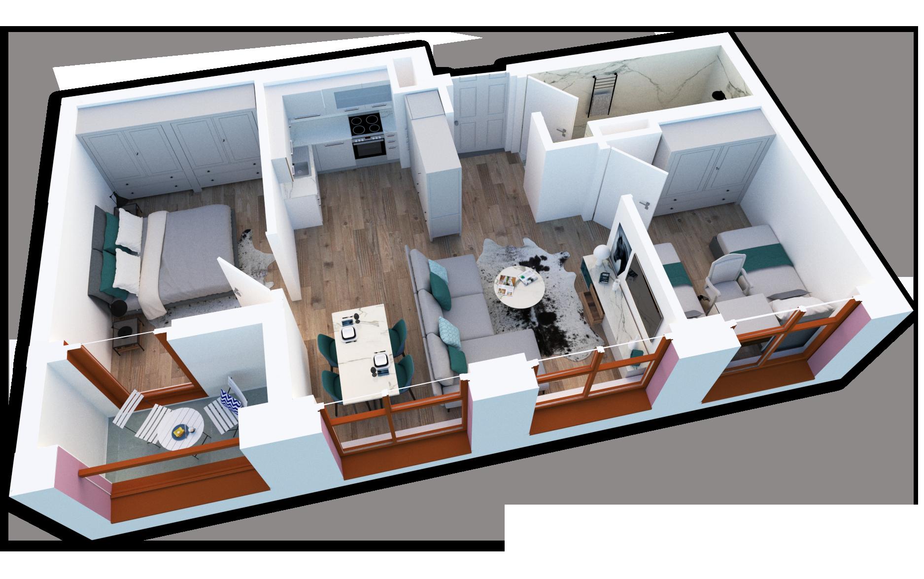 Apartament 2+1 në shitje në Tiranë - Mangalem 21 Shkalla 25 Kati 6
