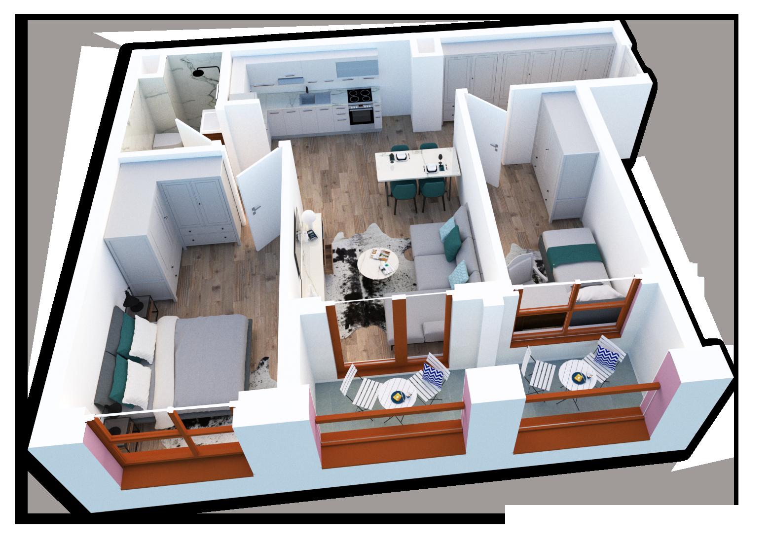 Apartament 2+1 në shitje në Tiranë - Mangalem 21 Shkalla 25 Kati 5