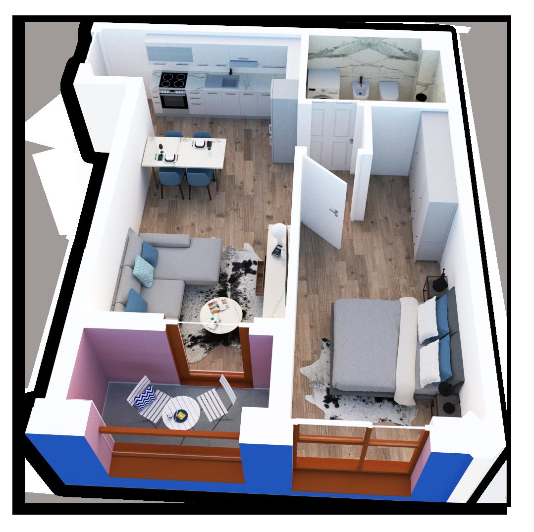 Apartament 1+1 në shitje në Tiranë - Mangalem 21 Shkalla 25 Kati 4