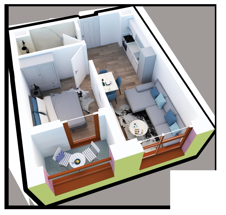 Apartament 1+1 në shitje në Tiranë - Mangalem 21 Shkalla 25 Kati 6