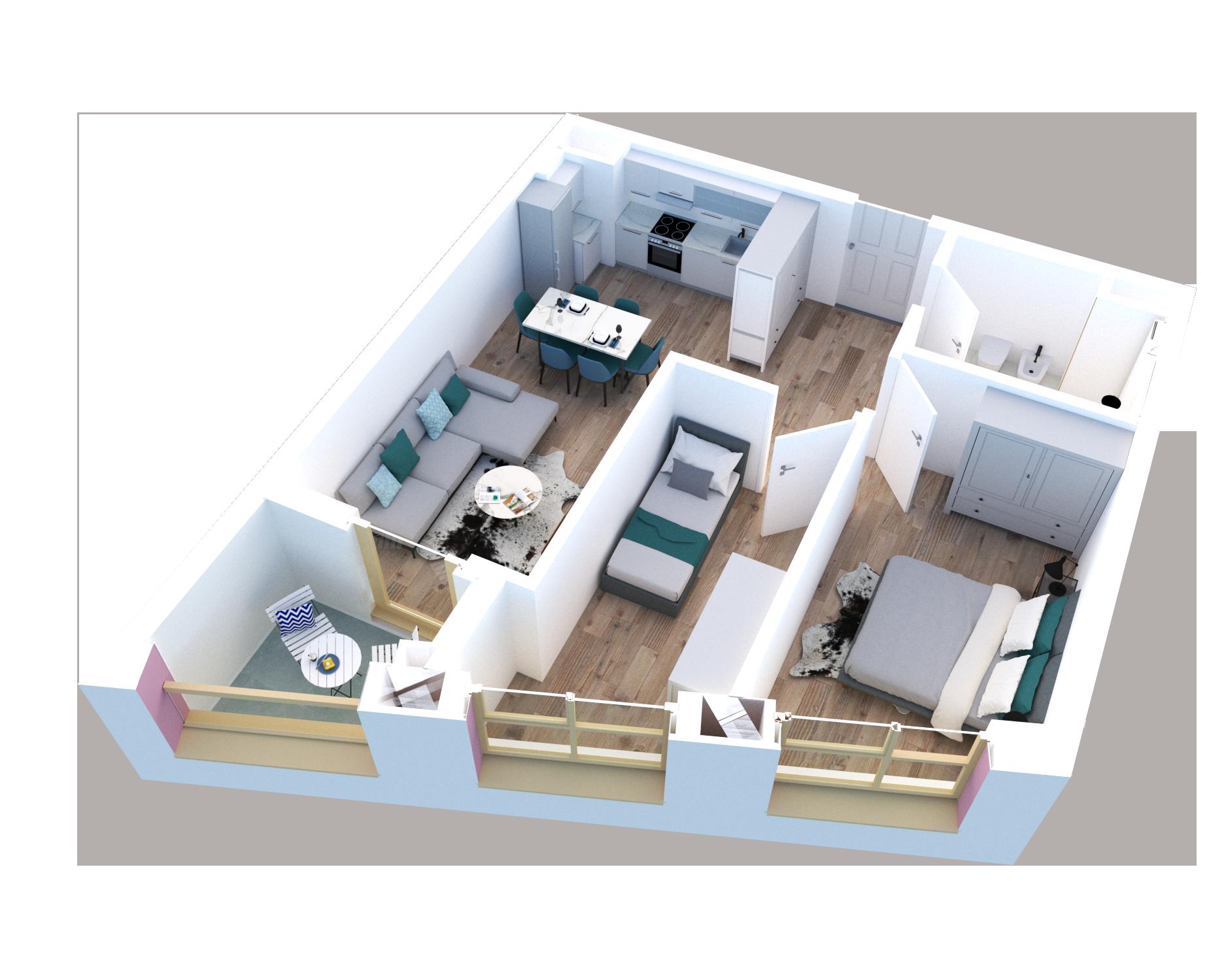 Apartament 2+1 në shitje në Tiranë - Mangalem 21 Shkalla 28 Kati 7