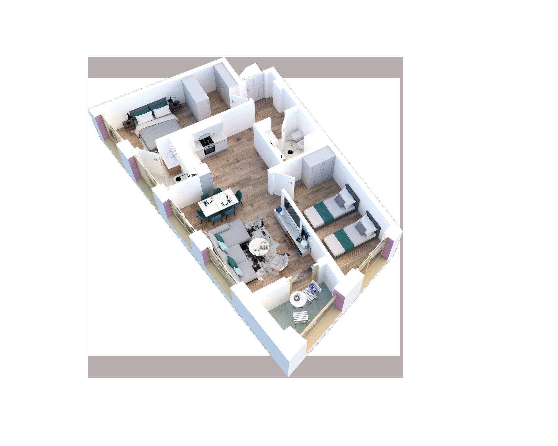 Apartament 2+1 në shitje në Tiranë - Mangalem 21 Shkalla 28 Kati 4
