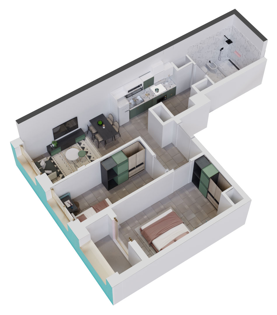 Apartament 2+1 në shitje në Tiranë - Mangalem 21 Shkalla 6 Kati 1