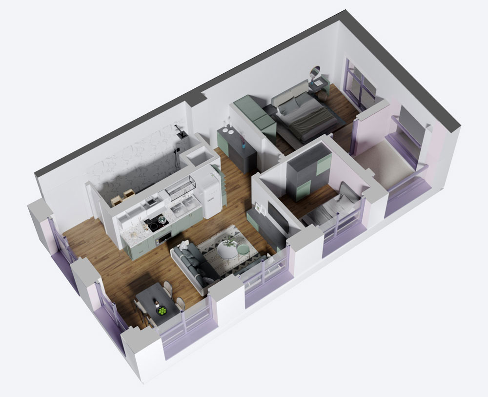Apartament 1+1 në shitje në Tiranë - Mangalem 21 Shkalla 15 Kati 6