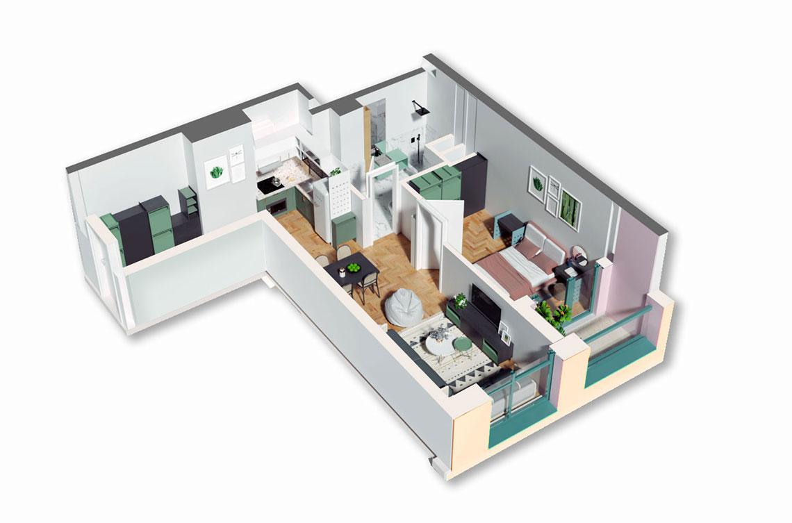 Apartament 1+1 në shitje në Tiranë - Mangalem 21 Shkalla 15 Kati 3