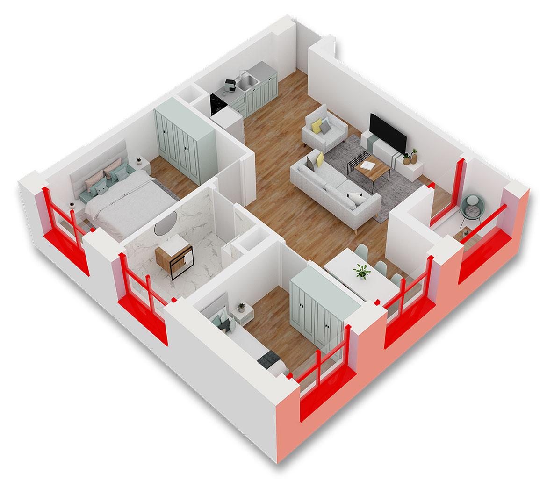 Apartament 2+1 në shitje në Tiranë - Mangalem 21 Shkalla 9 Kati 2