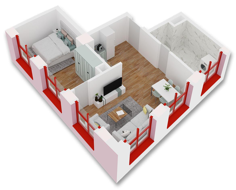 Apartament 1+1 në shitje në Tiranë - Mangalem 21 Shkalla 9 Kati 2