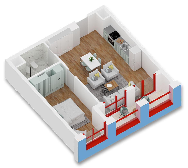Apartament 1+1 në shitje në Tiranë - Mangalem 21 Shkalla 9 Kati 3