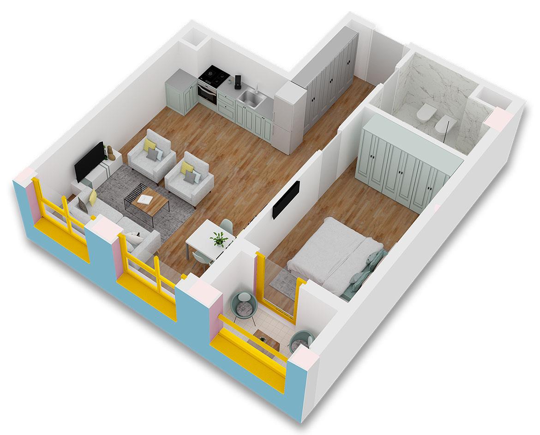 Apartament 1+1 në shitje në Tiranë - Mangalem 21 Shkalla 10 Kati 2
