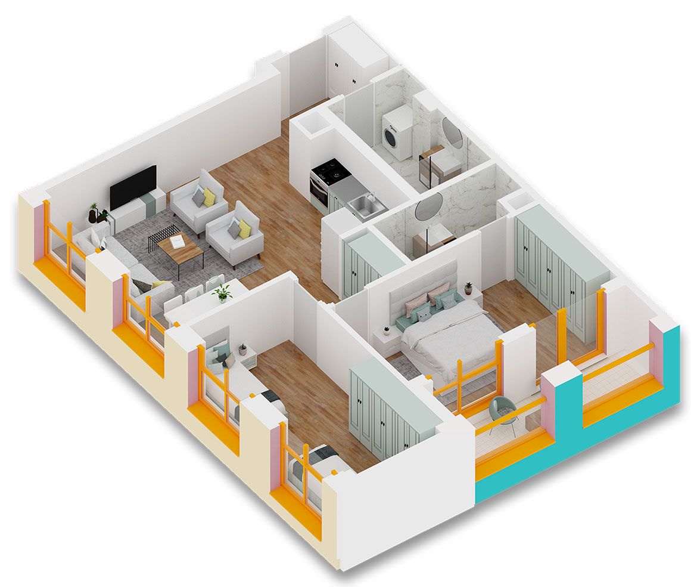 Apartament 2+1 në shitje në Tiranë - Mangalem 21 Shkalla 10 Kati 3