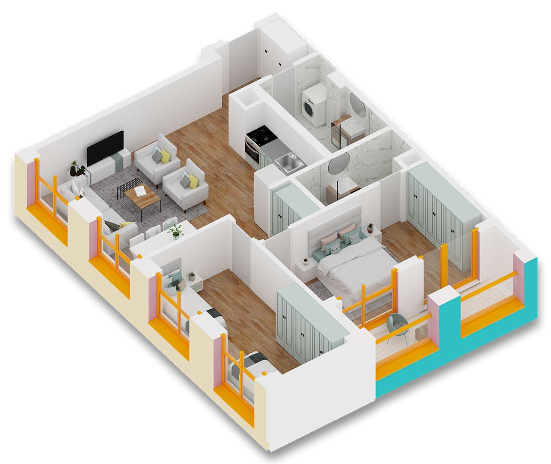 Apartament 2+1 në shitje në Tiranë - Mangalem 21 Shkalla 10 Kati 4