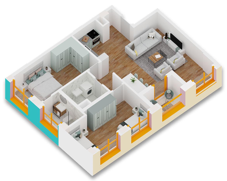 Apartament 2+1 në shitje në Tiranë - Mangalem 21 Shkalla 10 Kati 5