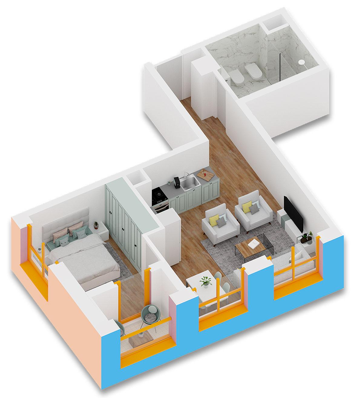 Apartament 1+1 në shitje në Tiranë - Mangalem 21 Shkalla  Kati 6