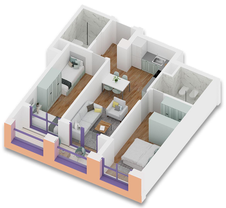 Apartament 2+1 në shitje në Tiranë - Mangalem 21 Shkalla 11 Kati 1