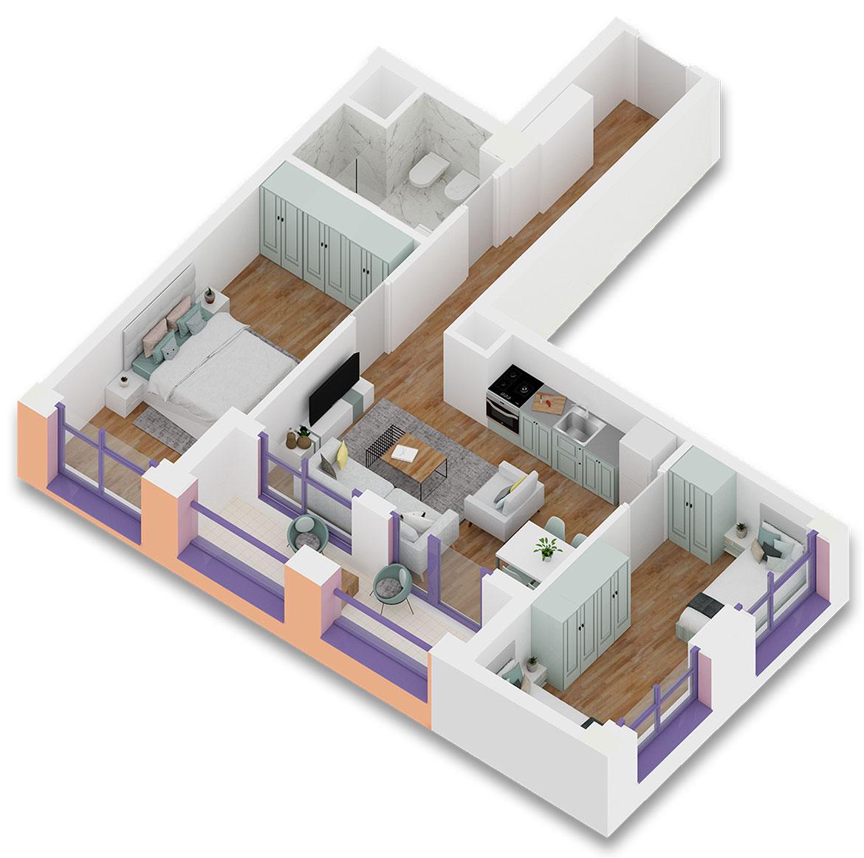 Apartament 2+1 në shitje në Tiranë - Mangalem 21 Shkalla 11 Kati 2