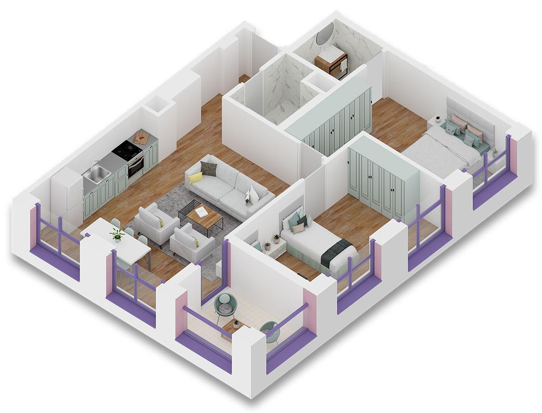 Apartament 2+1 në shitje në Tiranë - Mangalem 21 Shkalla 11 Kati 5