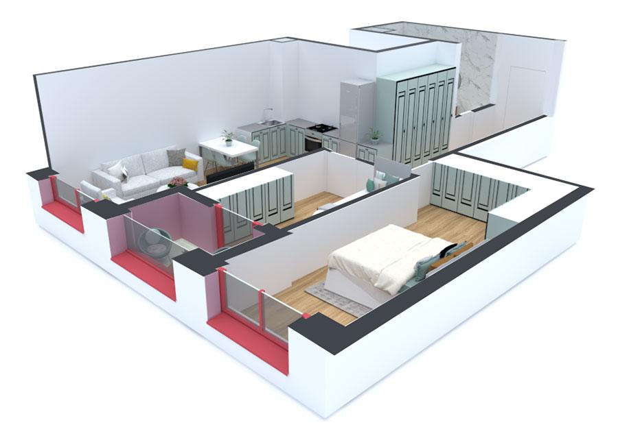 Apartament 2+1 në shitje në Tiranë - Mangalem 21 Shkalla 14 Kati 3