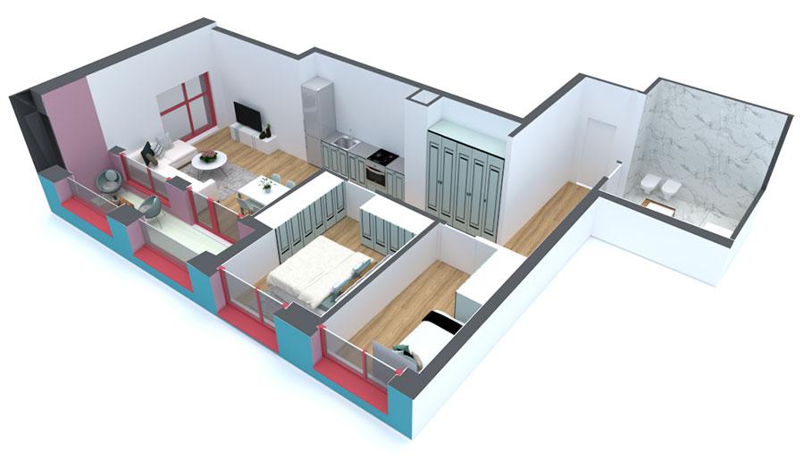 Apartament 2+1 në shitje në Tiranë - Mangalem 21 Shkalla 14 Kati 2