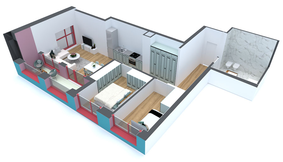 Apartament 2+1 në shitje në Tiranë - Mangalem 21 Shkalla 14 Kati 5