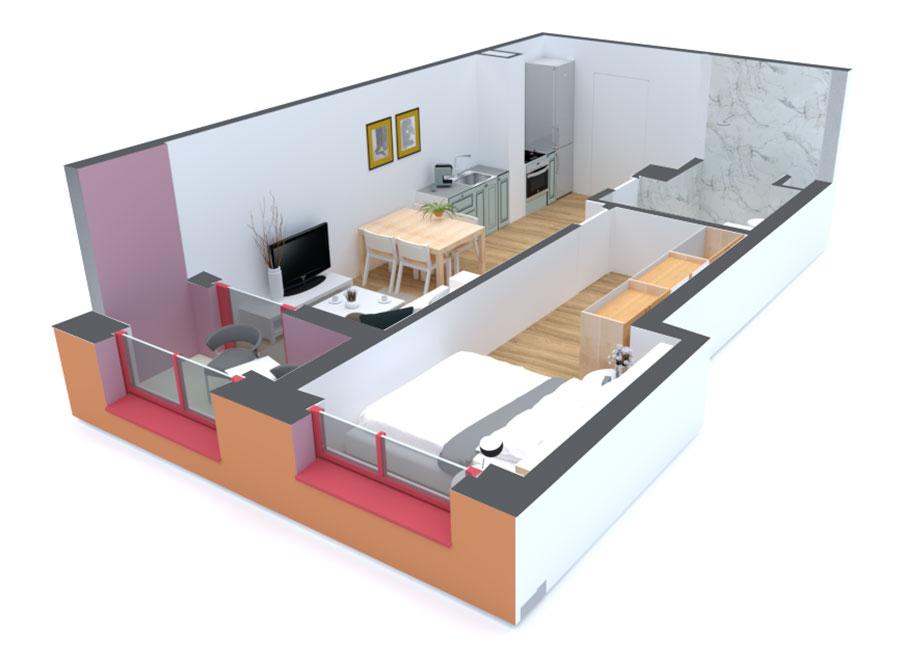 Apartament 1+1 në shitje në Tiranë - Mangalem 21 Shkalla 14 Kati 3