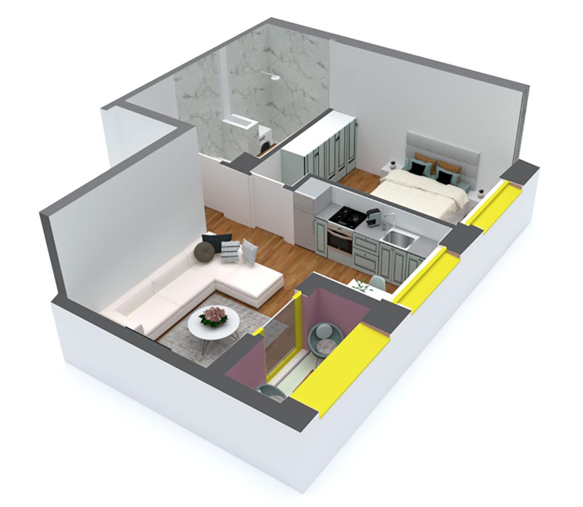 Apartament 1+1 në shitje në Tiranë - Mangalem 21 Shkalla 12 Kati 1