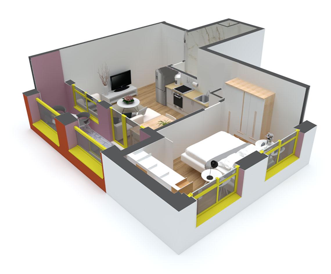 Apartament 1+1 në shitje në Tiranë - Mangalem 21 Shkalla 12 Kati 3