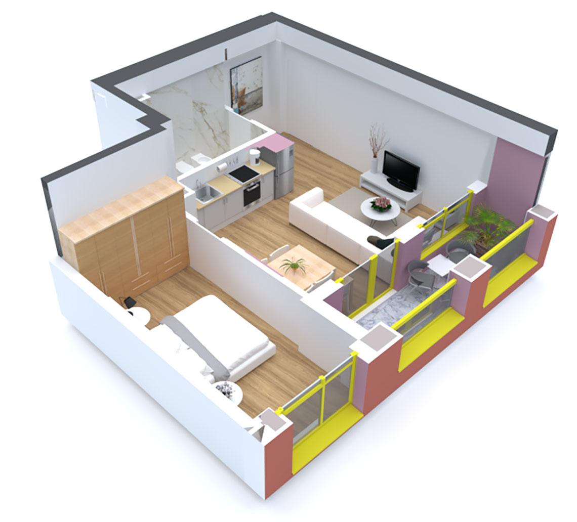 Apartament 1+1 në shitje në Tiranë - Mangalem 21 Shkalla 12 Kati 5