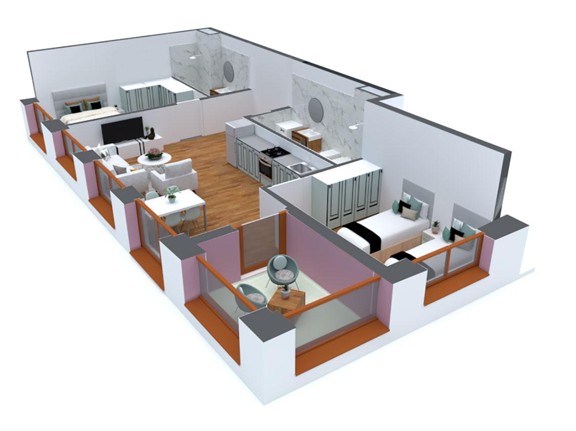 Apartament 2+1 në shitje në Tiranë - Mangalem 21 Shkalla 14 Kati 6